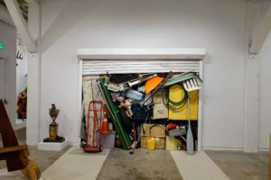 """In the East Gallery, we saw this installation by Jeff Colson - """"Roll Up"""", 2012 - a painted wood structure."""