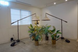 And look at these giant floor lamps over the container plants - another nice piece of modern art.