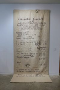 Another popular piece was this giant receipt - the canvas was at least eight feet tall.