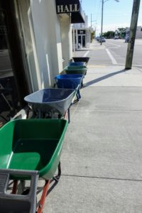 There was an entire row of wheelbarrows lining the front of the store.