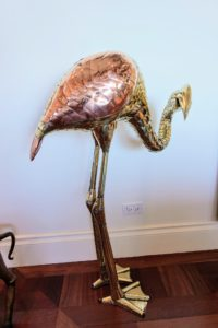 "This flamingo, part of Lisbeth's own ""Bustamante menagerie"", is 43-inches tall and is also made of mixed metals - brass and copper. Each piece in Lisbeth's collection was made by hand in the 1950s and 1960s."