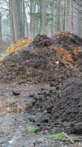 This middle pile contains leaf material and composted manure, which is filled with nutrients.