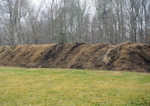 This is our pile of fine mulching material – ready for use as top dressing around the farm.