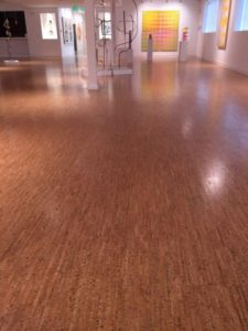 I love this cork floor. Cork flooring has excellent thermal and acoustical qualities and is a stable and renewable flooring source.