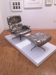This silver colored chair was very inviting.