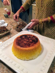 On another day, I ate dinner at the home of my friend, Khooshe Aiken. She cooked a Persian feast, which included this rice dish called tahdig, meaning scorched rice. Did you see the photo on my Instagram page @Marthastewart48?