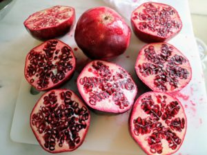 Look at the inside of these fruits - so juicy and red, loaded with vitamins and antioxidants. The fruit is typically in season in the Northern Hemisphere from September to February, and in the Southern Hemisphere from March to May. Pomegranates are used in baking, cooking, as meal garnishes, in smoothies, and cocktails.