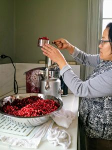 Once the bowl is filled with juicy pomegranate seeds, Sanu takes several scoops of seeds and pours them into the juicer's funnel.