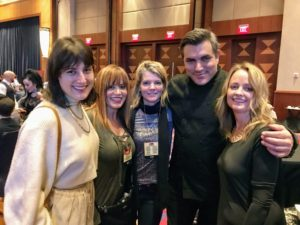 "Here are members of my team who posed with Chef Todd English for this quick snapshot during the ""Celebrity Chef Dine Around"" - Jessie Damuck, Dorian Arrich, Judy Morris, and Heather Kirkland."