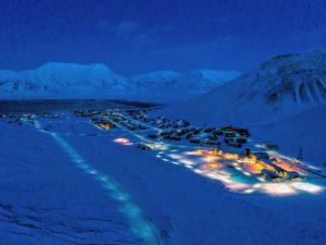Since Svalbard is located north of the Arctic Circle, it is very cold. The climate of Svalbard is dominated by its high latitude, with winter temperatures averaging about 3 to 10 degrees Fahrenheit. (Photo by Michael Poliza)
