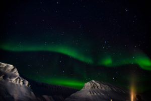 During the polar night from November to February, there is no daylight in Longyearbyen. Svalbard is actually the only place on the planet where you can experience the aurora borealis in the daytime. (Photo by Jake Ahles)
