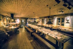 The restaurant's interior focuses on the history of early coal mining in Longyearbyen, and its menu shows a love for arctic cuisine. (Photo by Michael Poliza)