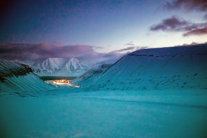 Snow typically covers the area from November to March. The warmest temperature ever recorded in Longyearbyen was 70-degrees Fahrenheit in July 1979 and the coldest was negative-51 degrees Fahrenheit in March 1986. (Photo by Michael Poliza)