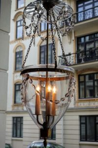 Here is another stunning light fixture hanging in the window of the shop.