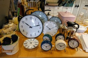 In a nearby home goods and hardware store, we saw lots and lots of clocks.