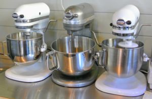 I love my stand mixers - here's a row of them in my Flower Room - one is already being put to use for making dough for another cookie.