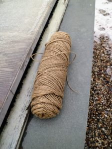 We use the same natural jute twine we use for so many of our gardening projects. Jute twine can be ordered online or purchased in specialty garden supply stores.