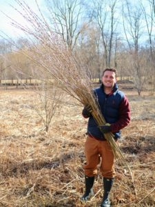 Ryan carries the first of several bunches to the side before going back to cut more. I always like to have lots and lots of pussy willows for my arrangements.