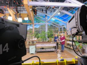 Here I am with QVC host, Pat James-Dementri. We're talking about my gardening tools - perfect for all that winter pruning and shaping.