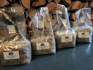 We received four different types of mushrooms, each sealed in a five pound bag with sterilized spawn sawdust substrate.