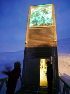 Here is the opening of the seed vault for our small initial group of visitors. Above the structure's portal is a Light Installation by Norwegian artist, Dyveke Sanne.