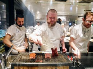 Here is a trio of chefs working hard at the Hibachi station in the kitchen - an Italian chef, a Norwegian chef and another Italian chef.