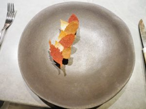 This dish includes aged reindeer that was smoked with juniper and then grilled. The leaves are made from dried Jerusalem artichoke puree. I thought the leaves were so beautiful.
