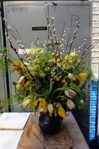 Stephen's arrangement included hairy balls, pussy willows, allium buds, crespida, golden wattle, and yellow buttons.