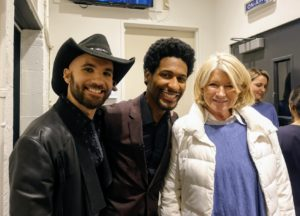 That evening, I appeared at a taping of The Late Show with Stephen Colbert. Here I am with The Late Show band leader, Jon Batiste, and drummer, Joe Saylor.