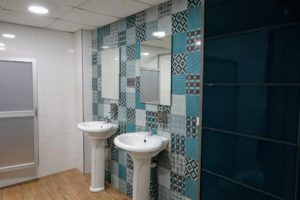 The bathrooms are also very clean and light - each one with a different color palate.