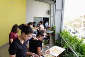 Here is a painting class where students were asked to study and paint their interpretations of the landscape.