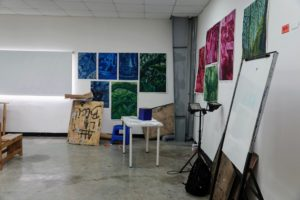 Here is another classroom filled with student paintings. After completing their two years of study at Chavón, some graduates transfer to a third year at a four-year institution, while many others go on to enter the workplace in their native country.