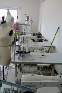 Singer Corporation donated this room - filled with machines and supplies for its fashion students.