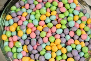 These M&M caramel chocolates from Mars come in a variety of pastel colors.