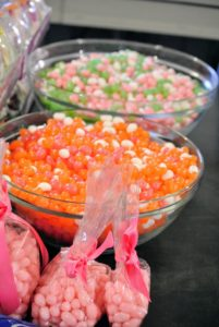 Jelly beans from Gimbal's are also available in pre-mixed bags, but we like to create our own color combinations. The bowl in the back is filled with bubble gum, coconut and key lime flavored jelly beans.