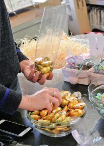 Shqipe also packages Dove Easter Milk Chocolate Peanut Butter Eggs for all the children of those who work here at my farm.