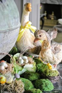 On my front hall table - a lovely woodland scene of whimsical ducks and eggs.