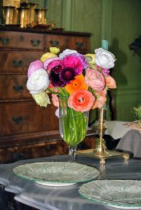 Fresh cut flowers also add beautiful color and life to a room. These flowers sit on the coffee table in my Green Room.