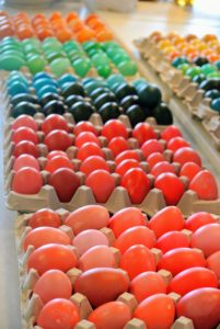 Here they are - 270 eggs all ready to be hidden. The eggs were dyed in bold, dark colors and light, pastels. Happy Easter to all of you.