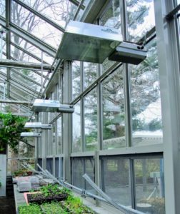 The span of windows in my greenhouse helps to concentrate heat and sunshine to maximize plant growth.