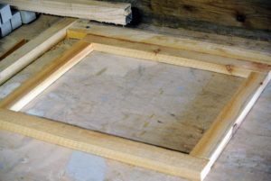 These are easy to make. Pete, a member of my outdoor grounds crew, created the rectangular frame starting with four pieces of wood - each about an inch thick. The length of the pieces depend on how large a frame is needed. These frames are approximately 12-inches by 15-inches when done.