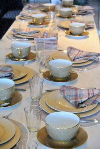 As always, Laura set a lovely table for the event. This breakfast will be at my kitchen island - a small group of 10.