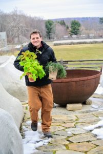 Here's Ryan carrying two houseplants through my expansive porch entrance on the upper terrace parterre. I keep all my houseplants in the greenhouse, where they can be maintained properly, especially during winter and times when I am traveling.