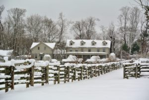 Here is a pretty view of my Winter House from the side of my stable. Always a welcoming sight, especially on these cold winter days. Were you affected by this latest nor'easter? Let me know in the comments section below.