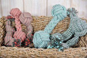 These assorted rope toys come in sets of three, each including a rope dumbbell, squeaker and crinkle toy.
