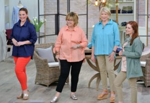 Here I am with QVC host, Carolyn Gracie and two of our models showing off some of my clothing pieces.