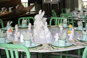 This year, I decided to use the Carriage House for the children. I am expecting 28 little Easter guests. We decorated tables with enamelware plates and light colored napkins.