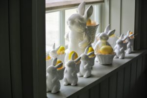 These bunnies sit on a windowsill in the Carriage House - ready to welcome the children as they gather for Easter lunch.