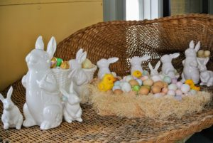 Remember by large cornucopia? We filled it with more bunnies and lots of eggs from years past.