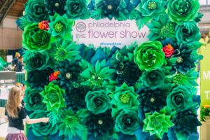 This year's Flower Show included this photo wall. It features hundreds of handcrafted paper flowers by artist, Shayna Papir. (Photo by Bruce Loatman for PHS)